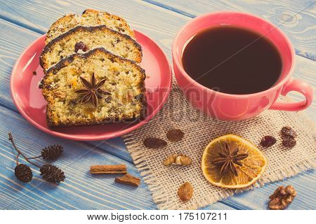 Vintage Photo, Cup Of Coffee And Fresh Fruitcake With Ingredients On Boards