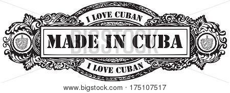 I love Cuban stamp Made in Cuba.