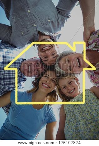 Digital composite image of happy family forming huddle above outline house