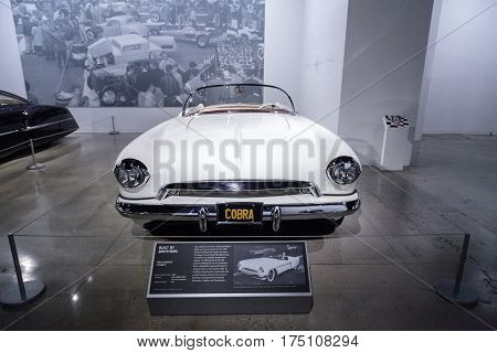Los Angeles CA USA - March 4 2017: White 1953 Hansen nicknamed Cobra at the Petersen Automotive Museum in Los Angeles California United States. Editorial only.