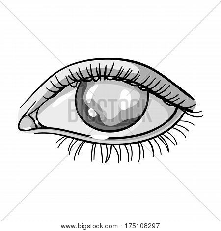 Blue eyes of a man who suffers from diabetes.Brilliant eyes from high blood sugar.Diabetes single icon in monochrome style vector symbol stock web illustration.