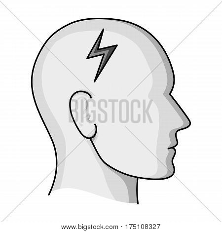 The head of the person with diabetes.Headache due to diabetes .Diabetes single icon in monochrome style vector symbol stock web illustration.