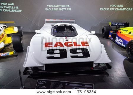 Los Angeles CA USA - March 4 2017: White 1993 AAR-Toyota Eagle MK III GTP number 99 at the Petersen Automotive Museum in Los Angeles California United States. Editorial only.