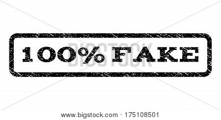 100 Percent Fake watermark stamp. Text tag inside rounded rectangle with grunge design style. Rubber seal stamp with scratched texture. Vector black ink imprint on a white background.