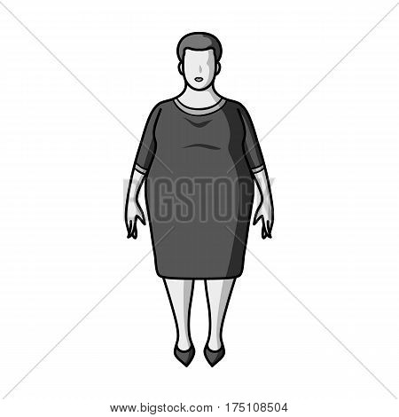 Fat woman in a red dress.A fat woman because of diabetes.Diabetes single icon in monochrome style vector symbol stock web illustration.