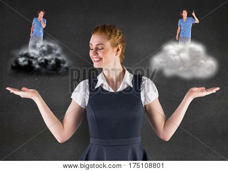 Digital generated image of woman standing between the good and bad conscience