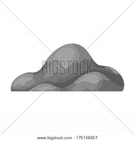 Low brown sand mountain.Different mountains single icon in monochrome style vector symbol stock web illustration.
