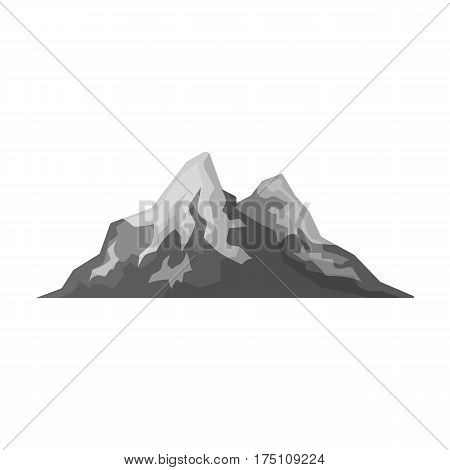 Sharp mountains, on the tops of which the snow melts.Different mountains single icon in monochrome style vector symbol stock web illustration.