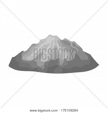 Green mountains.Mountain with snow.Different mountains single icon in monochrome style vector symbol stock web illustration.