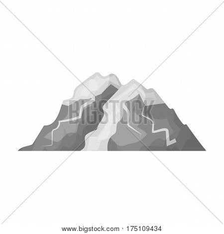 Ice mountain all the cracks.The mountain from which icebergs.Different mountains single icon in monochrome style vector symbol stock web illustration.