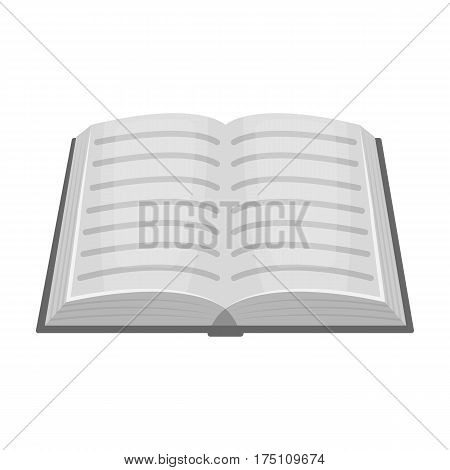 Book icon in monochrome design isolated on white background. Library and bookstore symbol stock vector illustration.