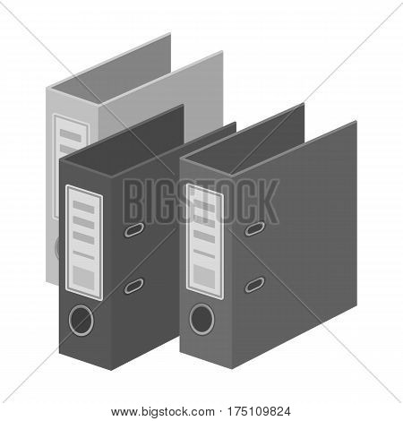 Ring binders icon in monochrome design isolated on white background. Library and bookstore symbol stock vector illustration.