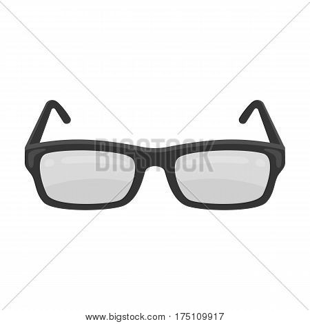 Glasses icon in monochrome design isolated on white background. Library and bookstore symbol stock vector illustration.