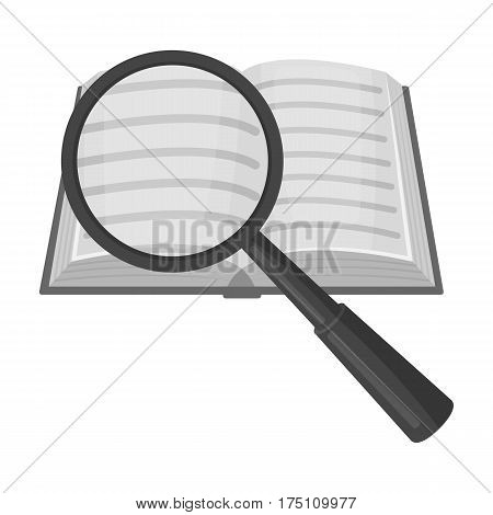 Seraching of information in the book icon in monochrome design isolated on white background. Library and bookstore symbol stock vector illustration.