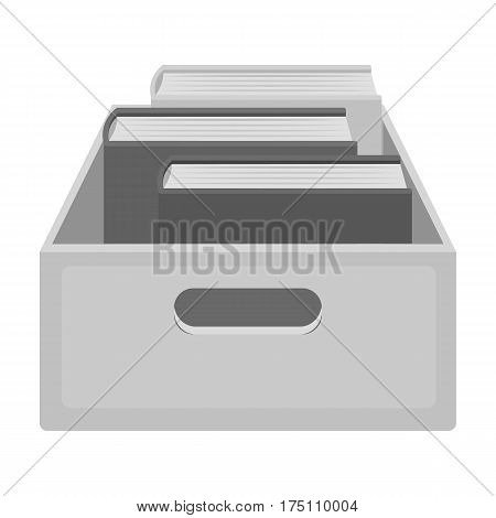 Books in box icon in monochrome design isolated on white background. Library and bookstore symbol stock vector illustration.