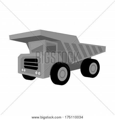 Yellow dump truck with black wheels.The vehicle used for transportation of minerals at the mine.Mine Industry single icon in monochrome style vector symbol stock web illustration.