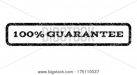100 Percent Guarantee watermark stamp. Text tag inside rounded rectangle with grunge design style. Rubber seal stamp with dirty texture. Vector black ink imprint on a white background.