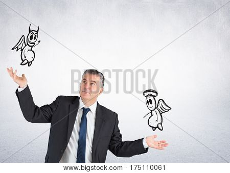 Digital generated image of businessman confused with good and bad conscience