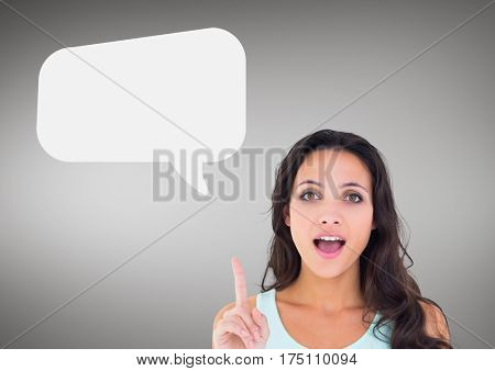 Digital composite image of woman with raised finger and speech bubble icon