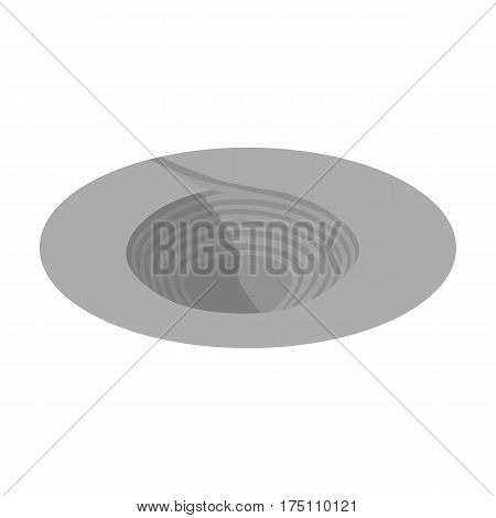 A big hole in the ground.The pit for the excavation of minerals.Mine Industry single icon in monochrome style vector symbol stock web illustration.