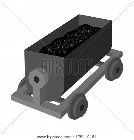The red cart on wheels for lifts minerals from deep mines.Mine Industry single icon in monochrome style vector symbol stock web illustration.