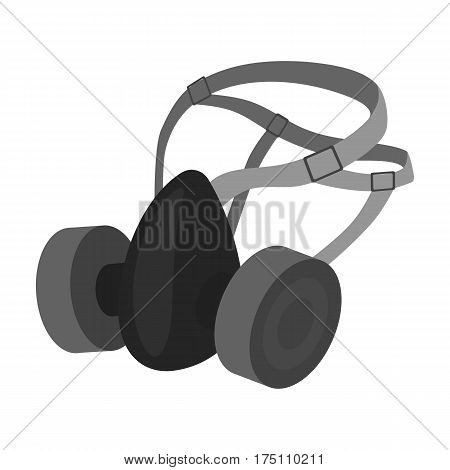 Respirator for miners. Protection from dust . Equipment of miners.Mine Industry single icon in monochrome style vector symbol stock web illustration.
