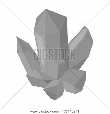 Blue mineral.Crystal, which is a towns produced in the mine.Mine Industry single icon in monochrome style vector symbol stock web illustration.