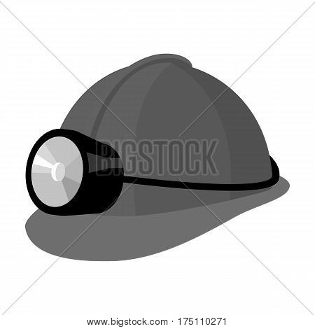 The helmet of a miner with a flashlight.Gear digger for protection from stones.Mine Industry single icon in monochrome style vector symbol stock web illustration.