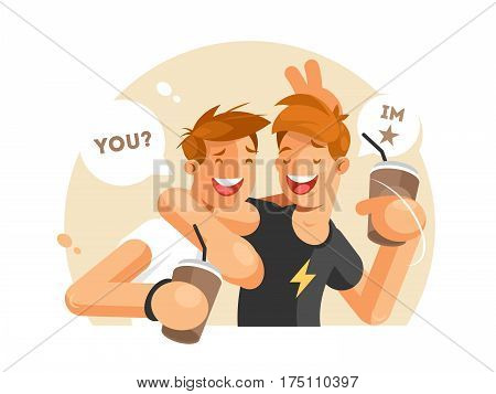 Two friends having fun. Guys with coffee communicating. Vector illustration