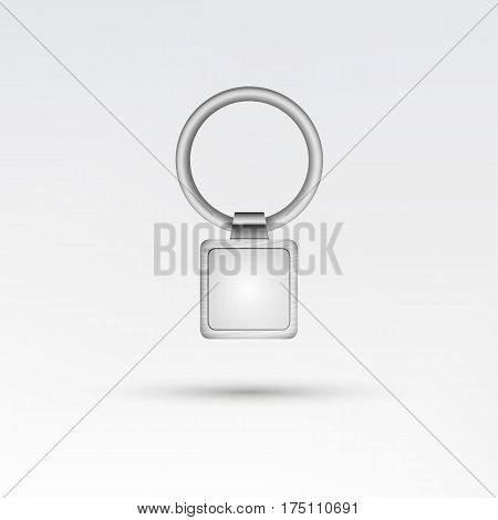 Realistic Template Metal Keychain Vector. 3d Key Chain With Ring For Key Isolated On White