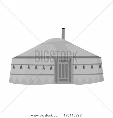 Tent in the Mongolian patterns.Mongolian tent.Housing the ancient Mongols.Mongolia single icon in monochrome style vector symbol stock web illustration.