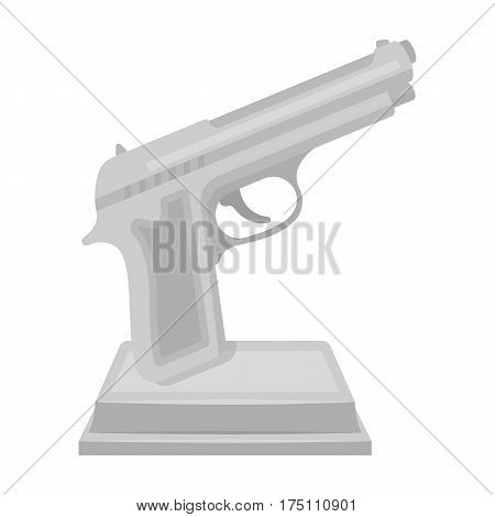 Golden gun on a stand.Award for best crime film.Movie awards single icon in monochrome style vector symbol stock web illustration.