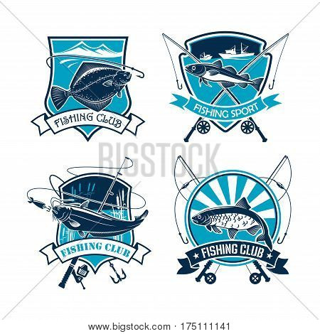 Fishing vector icons of fisher tackle and fish catch flounder or carp, navaga or sheatfish. Emblems or badges and ribbons set of fisherman rods and net, baits or lures and hooks for fishery sport trip