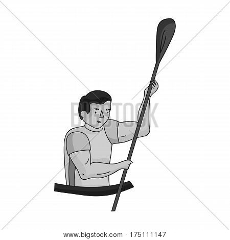 Rower in a boat with a paddle in hand down to the baydak on the wild river.Olympic sports single icon in monochrome style vector symbol stock web illustration.