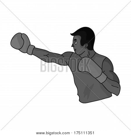 Brown boxer in Boxing gloves.The Olympic sport of Boxing.Olympic sports single icon in monochrome style vector symbol stock web illustration.