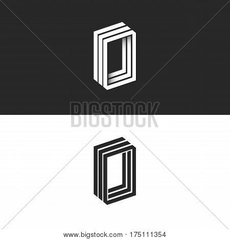 Letter O Logo Hipster Monogram, Idea Ooo Initials, Isometric 3D Lines Geometric Shape, Creative, Num