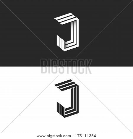 Logo J Letter In Isometric Initial Monogram, Black And White 3D Geometric Line Shape With Shadow. Jj
