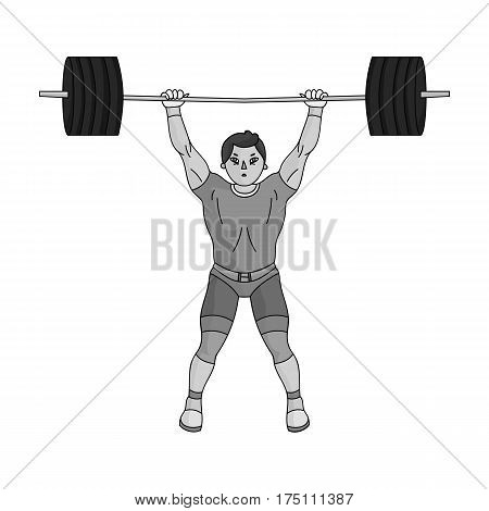 Strong weightlifter raises the bar in the gym.The athlete lifts a huge weight.Olympic sports single icon in monochrome style vector symbol stock web illustration.