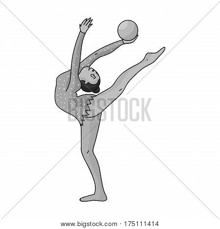 Skinny girl with ball in hand dancing sports dance. The girl is engaged in gymnastics.Olympic sports single icon in monochrome style vector symbol stock web illustration.