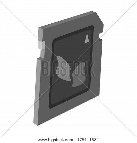 SD card icon in monochrome design isolated on white background. Personal computer accessories symbol stock vector illustration.