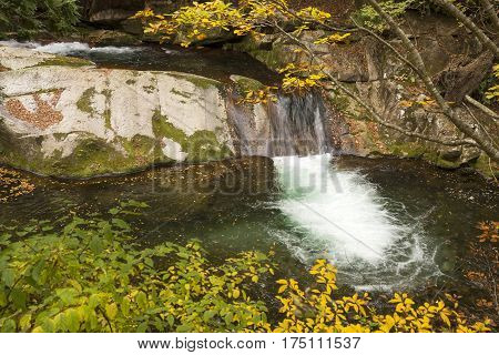 Overlook autumn leaves and brook falling step in Minakami, Gumna