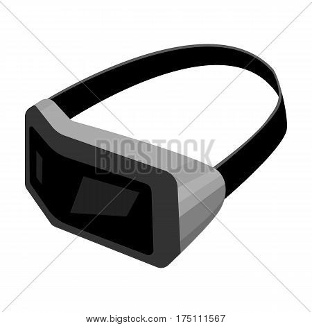 Virtual reality headset icon in monochrome design isolated on white background. Personal computer accessories symbol stock vector illustration.