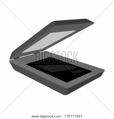Scanner icon in monochrome design isolated on white background. Personal computer accessories symbol stock vector illustration.