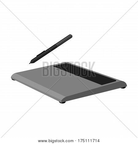 Drawing tablet icon in monochrome design isolated on white background. Personal computer accessories symbol stock vector illustration.