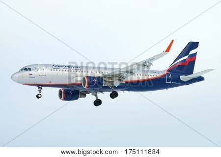 SAINT PETERSBURG, RUSSIA - FEBRUARY 25, 2017: Flying the Airbus A320
