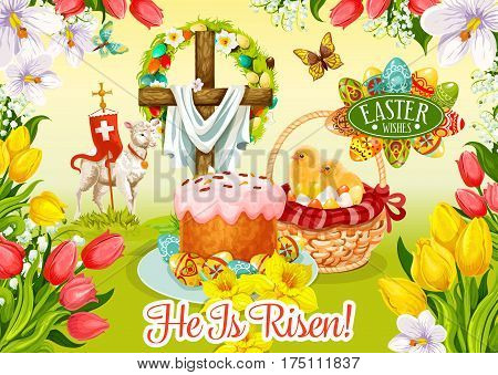 Easter Day wishes greeting card. Easter egg and cake, egg hunt basket with chicken chicks, cross with floral wreath and lamb of God on grass meadow poster, edged with flowers of tulip, lily, narcissus