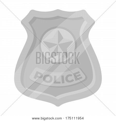 Police badge icon in monochrome design isolated on white background. Police symbol stock vector illustration.