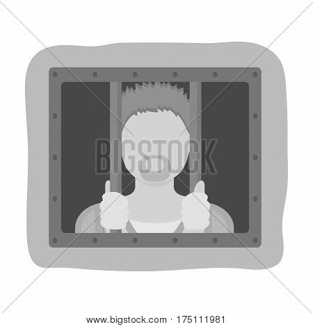 Prisoner icon in monochrome design isolated on white background. Police symbol stock vector illustration.