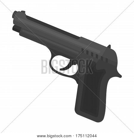 Handgun icon in monochrome design isolated on white background. Police symbol stock vector illustration.