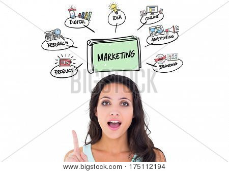 Digital composite image of female executive pointing at marketing concepts above her head